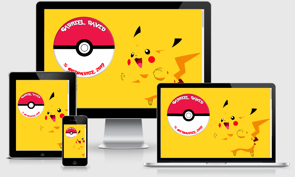 invitatie digitala pikachu