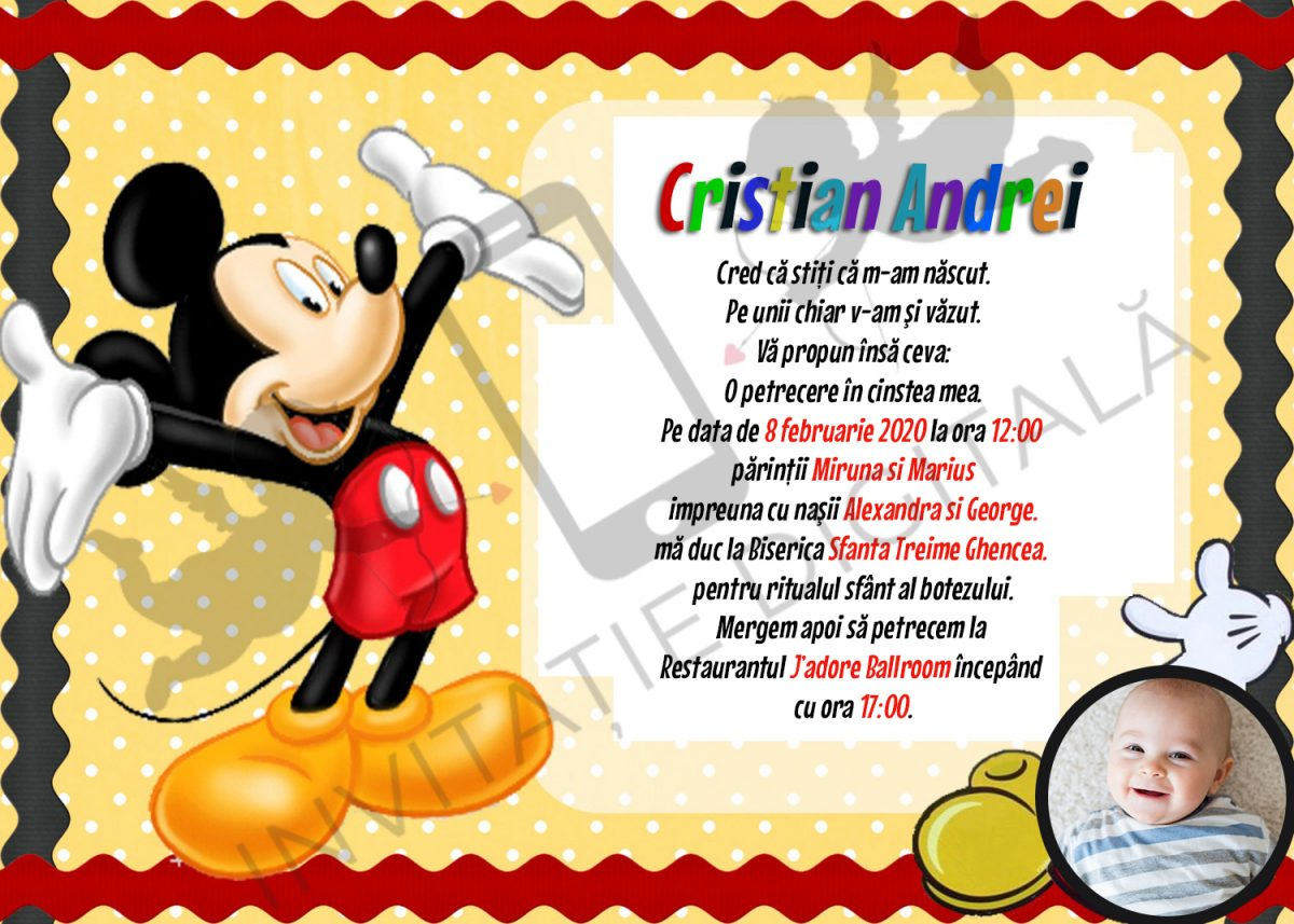 invitatie botez mickey mouse online