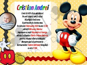 invitatie botez digitala cu mickey mouse
