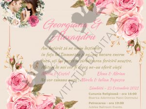 invitatie de nunta digitala online cu trandafiri roz