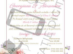 Invitație Nuntă digitală cu flori roz și fotografie - Floral 004