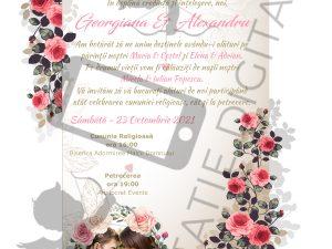 Invitație Nuntă digitală cu trandafiri roșii - Floral 005