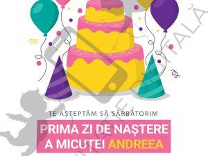 Invitație online turtă fetiță - TURTA001 - Invitație pentru ruperea turtei