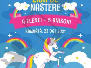Invitație aniversare cu unicorni pentru fete - Albastru - UNICORN004